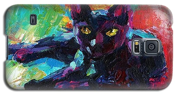 Galaxy S5 Case - Colorful Black Cat Painting By Svetlana by Svetlana Novikova
