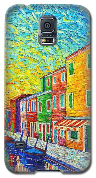 Colorful Burano Sunrise - Venice - Italy - Palette Knife Oil Painting By Ana Maria Edulescu Galaxy S5 Case by Ana Maria Edulescu