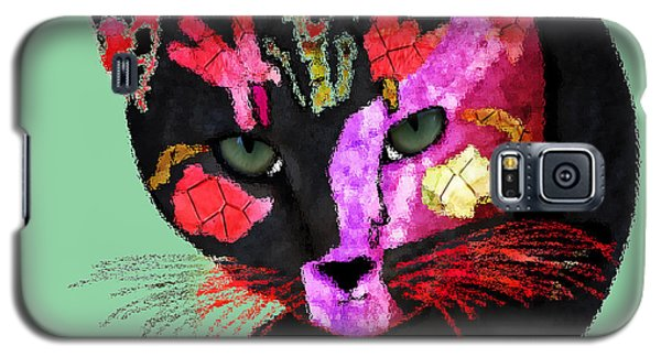 Colorful Cat Abstract Artwork By Claudia Ellis Galaxy S5 Case