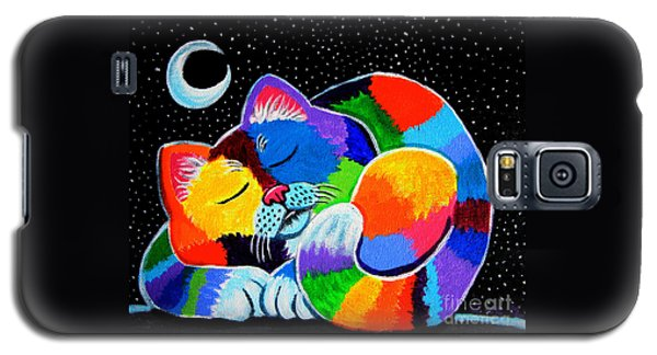 Colorful Cat In The Moonlight Galaxy S5 Case by Nick Gustafson