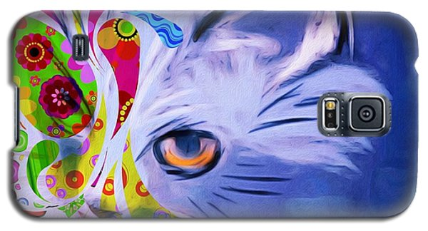 Galaxy S5 Case featuring the mixed media Colorful Cat World by Gabriella Weninger - David