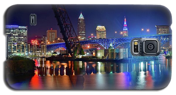 Galaxy S5 Case featuring the photograph Colorful Cleveland Lights Shimmer Bright by Frozen in Time Fine Art Photography