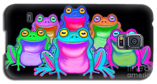 Galaxy S5 Case featuring the painting Colorful Froggies by Nick Gustafson