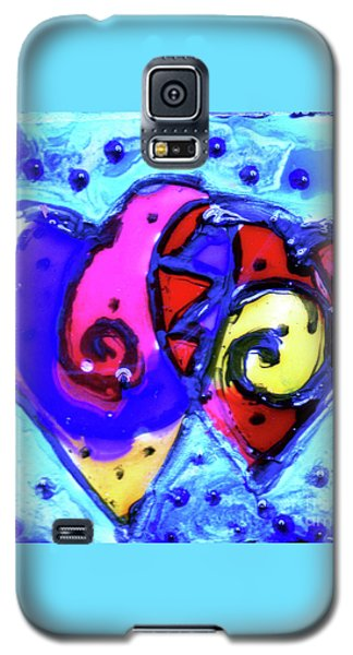 Galaxy S5 Case featuring the painting Colorful Hearts Equals Crazy Hearts by Genevieve Esson