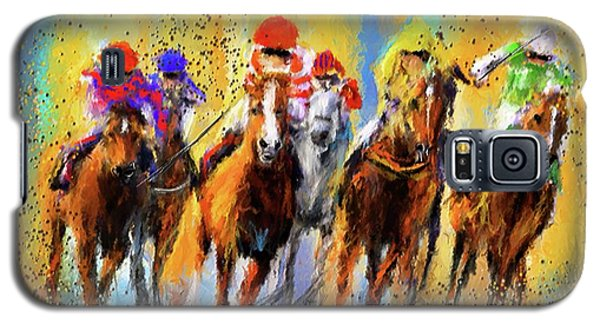 Colorful Horse Racing Impressionist Paintings Galaxy S5 Case