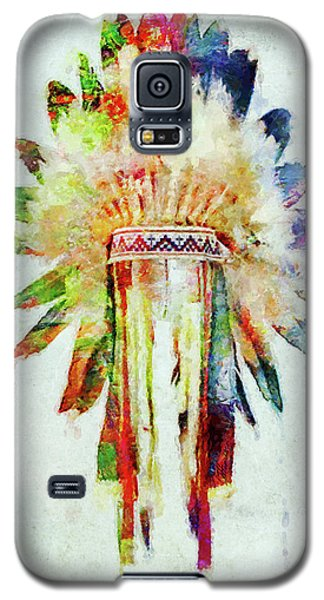 Colorful Lakota Sioux Headdress Galaxy S5 Case by Olga Hamilton