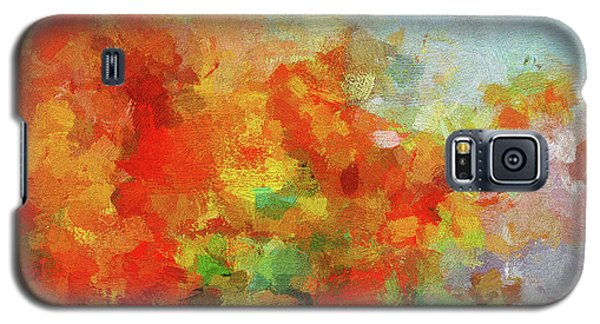 Galaxy S5 Case featuring the painting Colorful Landscape Art In Abstract Style by Ayse Deniz