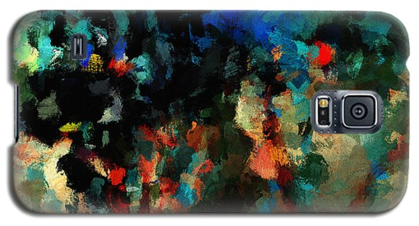 Galaxy S5 Case featuring the painting Colorful Landscape / Cityscape Abstract Painting by Ayse Deniz