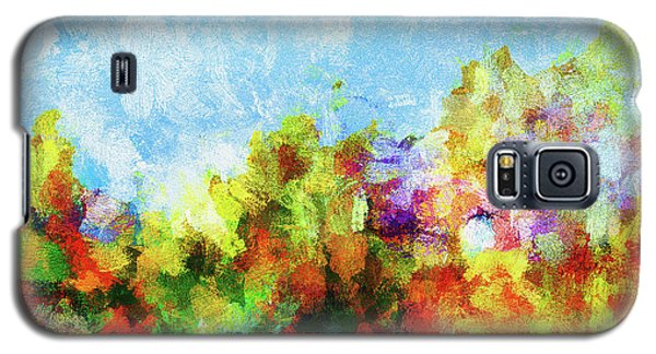Galaxy S5 Case featuring the painting Colorful Landscape Painting In Abstract Style by Ayse Deniz