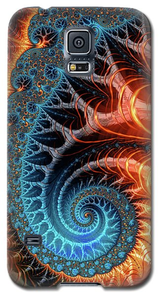 Colorful Luxe Fractal Spiral Turquoise Brown Orange Galaxy S5 Case