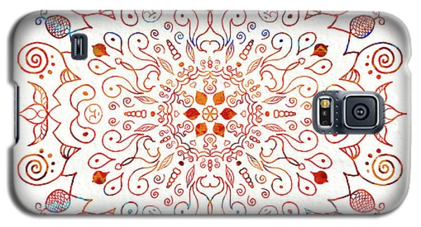 Galaxy S5 Case featuring the digital art Colorful Mandala On Watercolor Paper by Patricia Lintner