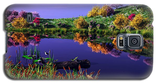 Galaxy S5 Case featuring the digital art Colorful Pond by Walter Colvin