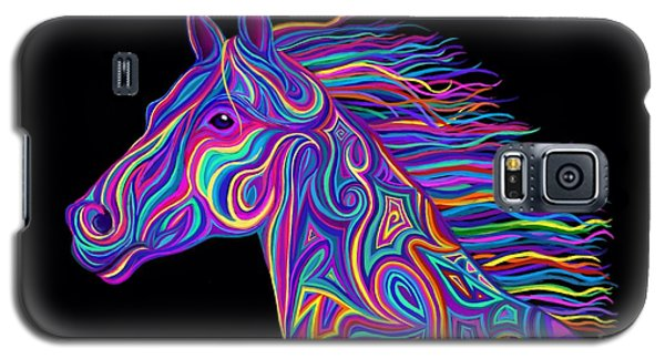 Galaxy S5 Case featuring the drawing Colorful Rainbow Stallion  by Nick Gustafson