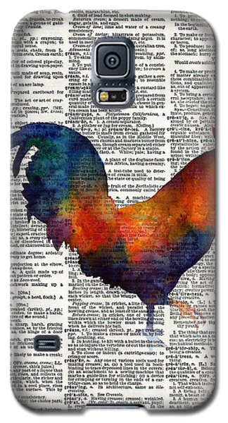 Colorful Rooster On Vintage Dictionary Galaxy S5 Case by Hailey E Herrera
