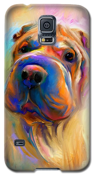 Colorful Shar Pei Dog Portrait Painting  Galaxy S5 Case