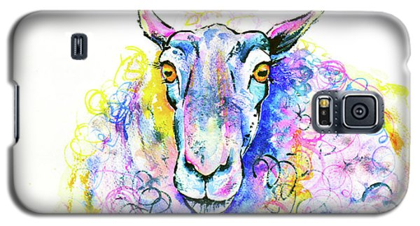 Galaxy S5 Case featuring the painting Colorful Sheep by Zaira Dzhaubaeva