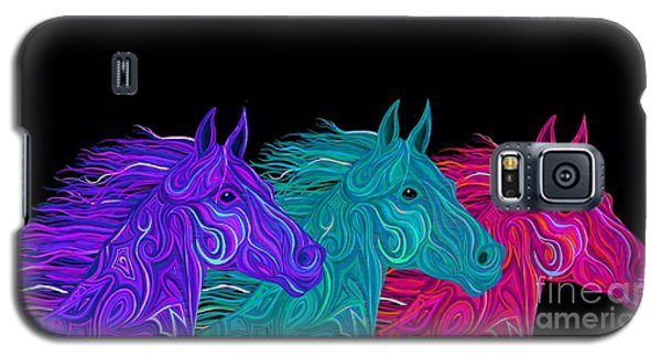 Galaxy S5 Case featuring the drawing Colorful Stallions  by Nick Gustafson