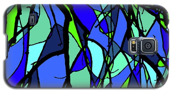 Colorful Tree Abstract Blue Galaxy S5 Case