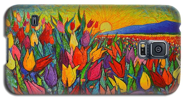 Colorful Tulips Field Sunrise - Abstract Impressionist Palette Knife Painting By Ana Maria Edulescu Galaxy S5 Case by Ana Maria Edulescu