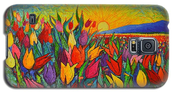 Colorful Tulips Field Sunrise - Abstract Impressionist Palette Knife Painting By Ana Maria Edulescu Galaxy S5 Case