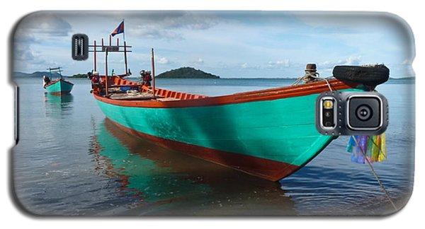 Colorful Turquoise Boat Near The Cambodia Vietnam Border Galaxy S5 Case
