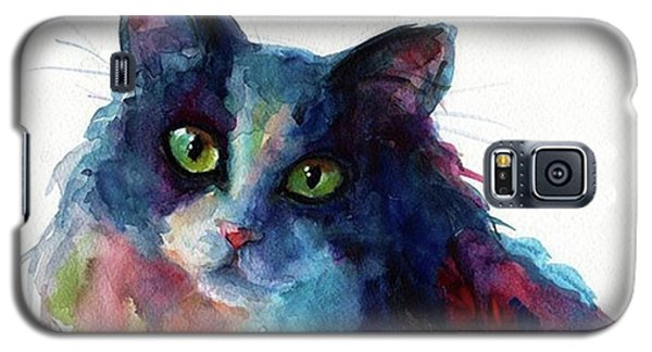 Famous Artist Galaxy S5 Case - Colorful Watercolor Cat By Svetlana by Svetlana Novikova