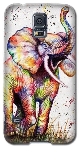 Galaxy S5 Case featuring the painting Colorful Watercolor Elephant by Georgeta Blanaru
