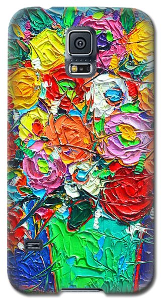 Colorful Wildflowers Abstract Modern Impressionist Palette Knife Oil Painting By Ana Maria Edulescu  Galaxy S5 Case