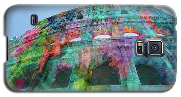 Galaxy S5 Case featuring the mixed media Colourful Grungy Colosseum In Rome by Clare Bambers