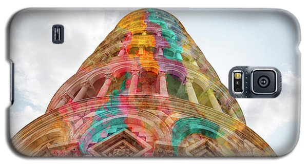 Galaxy S5 Case featuring the mixed media Colourful Leaning Tower Of Pisa by Clare Bambers