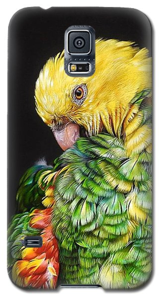 Galaxy S5 Case featuring the drawing Colours Of The Jungle - Yellow-headed Amazon by Elena Kolotusha
