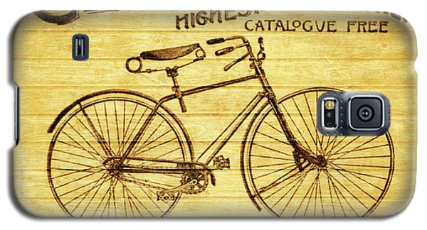 Galaxy S5 Case featuring the mixed media Columbia Bicycle Vintage Poster On Wood by Dan Sproul