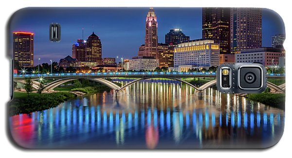 Galaxy S5 Case featuring the photograph Columbus Ohio Skyline At Night by Adam Romanowicz