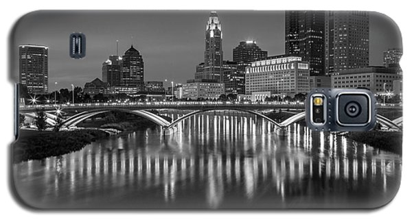 Galaxy S5 Case featuring the photograph Columbus Ohio Skyline At Night Black And White by Adam Romanowicz