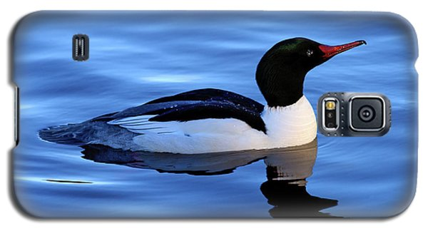 Galaxy S5 Case featuring the photograph Common Merganser Duck In Stanley Park by Terry Elniski