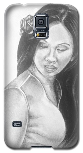 Long Hair Asian Lady With Rose In Sorrow Charcoal Drawing  Galaxy S5 Case
