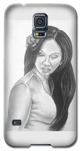 Female In Sorrow Charcoal Drawing  Galaxy S5 Case