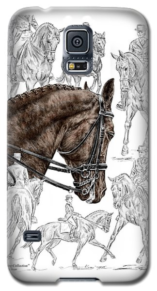 Galaxy S5 Case featuring the drawing Contemplating Collection - Dressage Horse Print Color Tinted by Kelli Swan