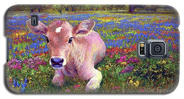 Cow Galaxy S5 Case - Contented Cow In Colorful Meadow by Jane Small