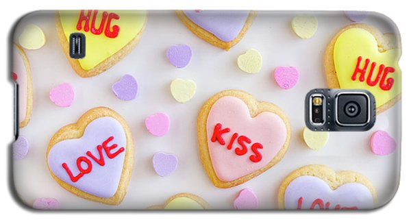 Galaxy S5 Case featuring the photograph Conversation Heart Cookie Love by Teri Virbickis
