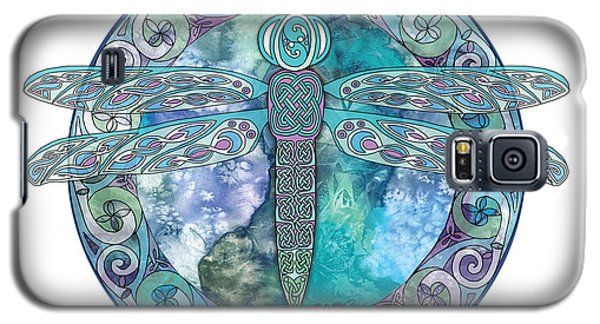Galaxy S5 Case featuring the mixed media Cool Celtic Dragonfly by Kristen Fox