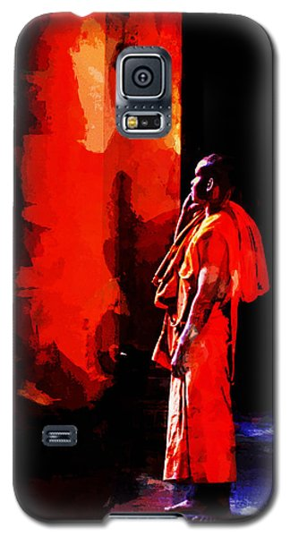Galaxy S5 Case featuring the digital art Cool Orange Monk by Cameron Wood