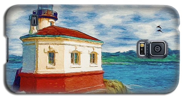 Galaxy S5 Case featuring the painting Coquille River Lighthouse by Jeff Kolker