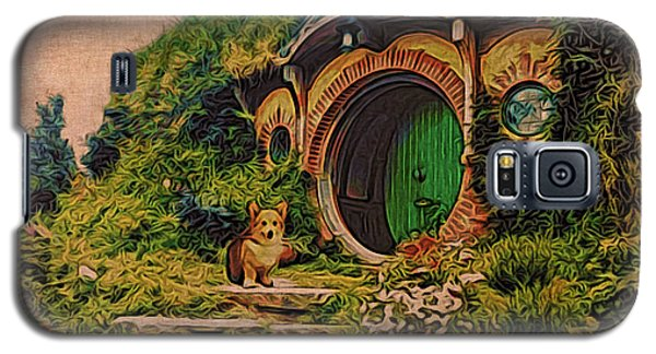 Galaxy S5 Case featuring the digital art Corgi At Hobbiton by Kathy Kelly