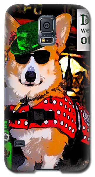Galaxy S5 Case featuring the digital art Corgi - Drinks Well With Others by Kathy Kelly