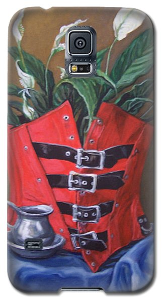 Galaxy S5 Case featuring the painting Corset And Calla Lily by Laura Aceto