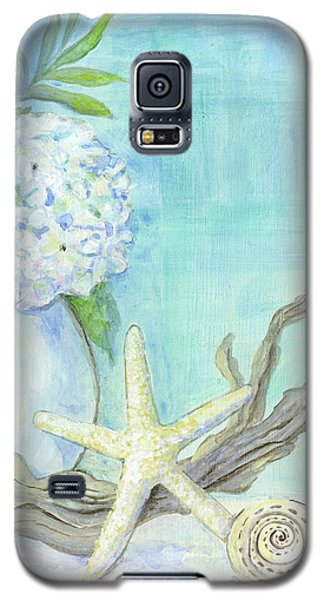 Cottage At The Shore 1 White Hydrangea Bouquet W Driftwood Starfish Sea Glass And Seashell Galaxy S5 Case