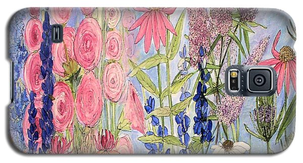 Galaxy S5 Case featuring the painting Cottage Flowers With Dragonfly by Laurie Rohner