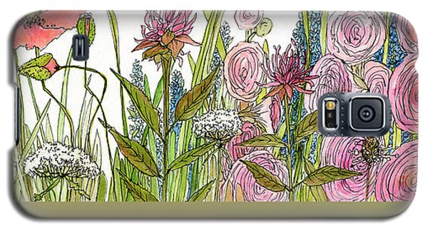 Cottage Hollyhock Garden Galaxy S5 Case by Laurie Rohner