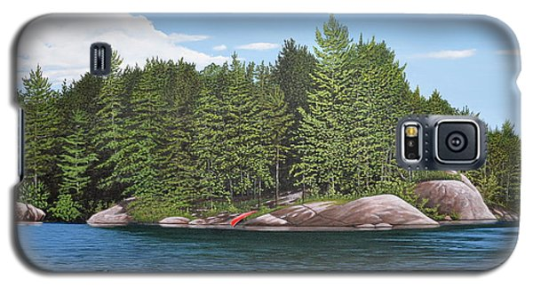 Galaxy S5 Case featuring the painting Cottage View Silver Lake by Kenneth M Kirsch